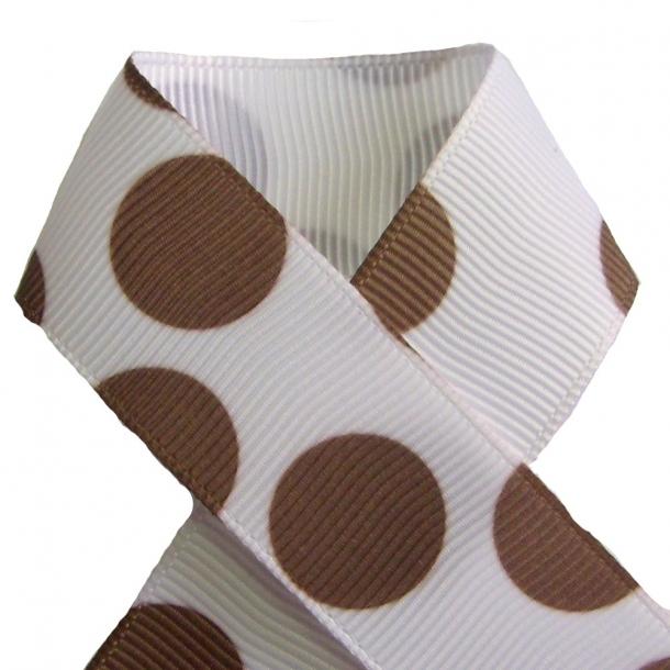 Grosgrainbånd - Prikker brun