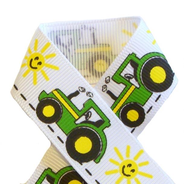 Grosgrainbånd - Grøn traktor