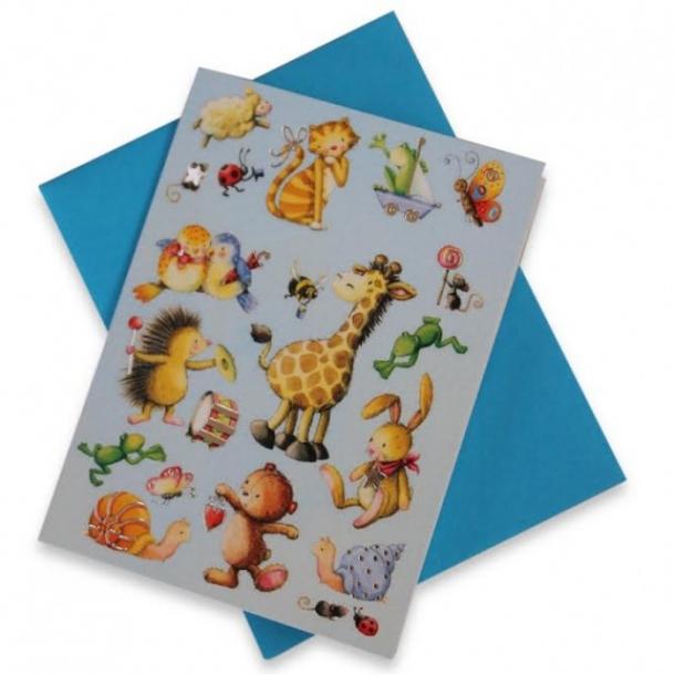 Mini tillykkekort med søde dyr