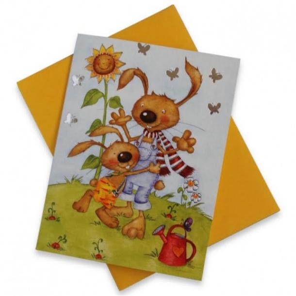 Mini tillykkekort med to små venner