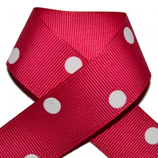 Grosgrainbånd - Prikker mørk pink