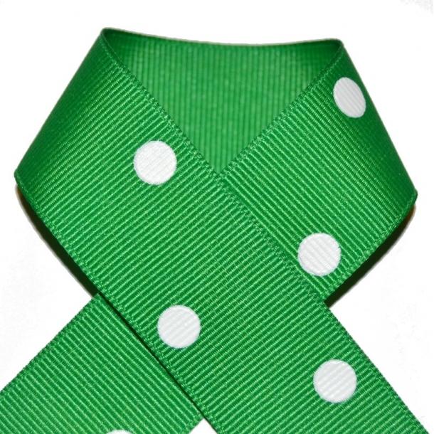 Grosgrainbånd - Grøn med prikker