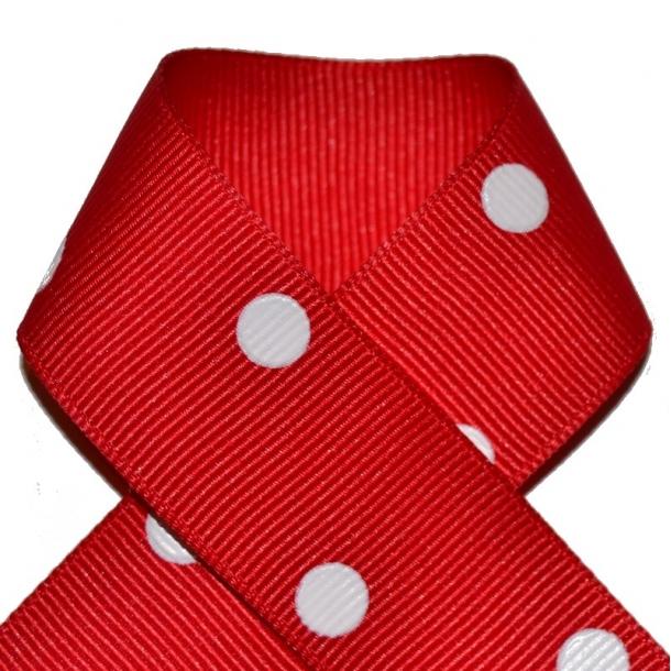Grosgrainbånd - Prikker rød