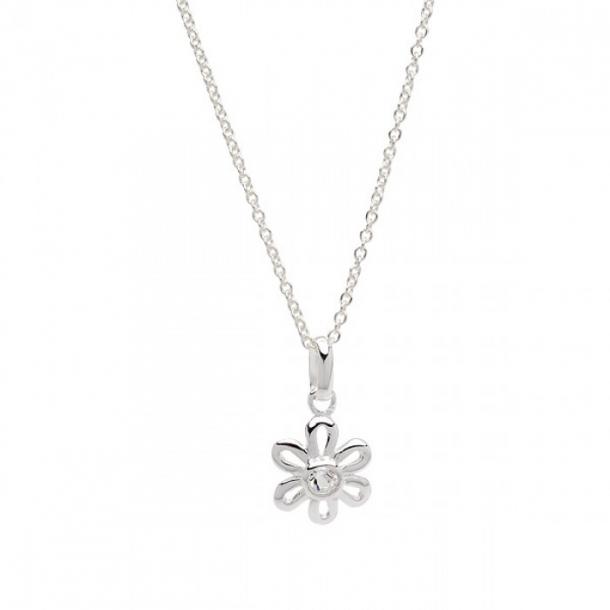Halskæde i sølv med sølvvedhæng blomst m/ crystal