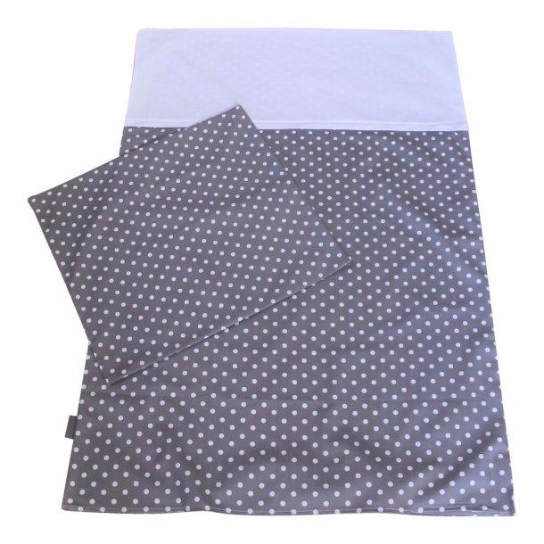 Babysengetøj - grå med prikker