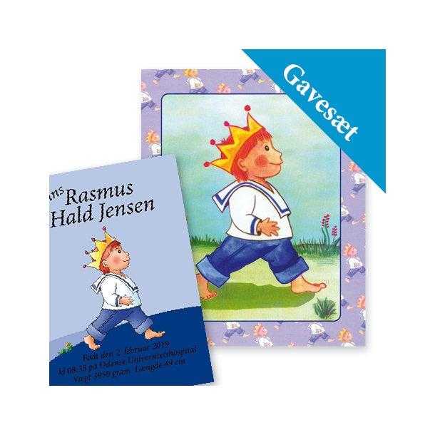 Barnets personlige gavesæt - Plakat & Babybogen til prinsen