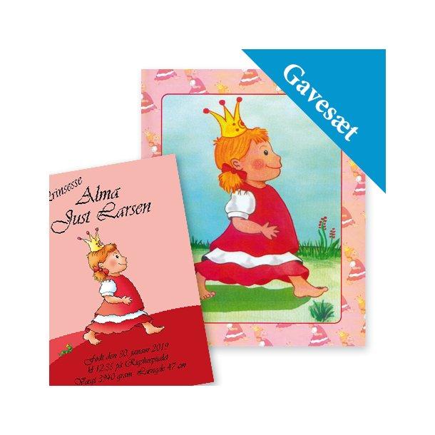 Barnets personlige gavesæt - Plakat & Babybogen til piger