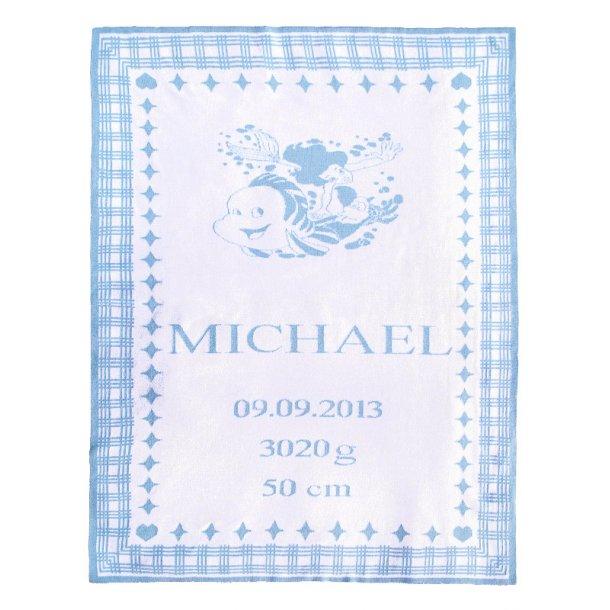 Havfrue - Barnets personlige tæppe med navn - Vælg mellem 7 farver