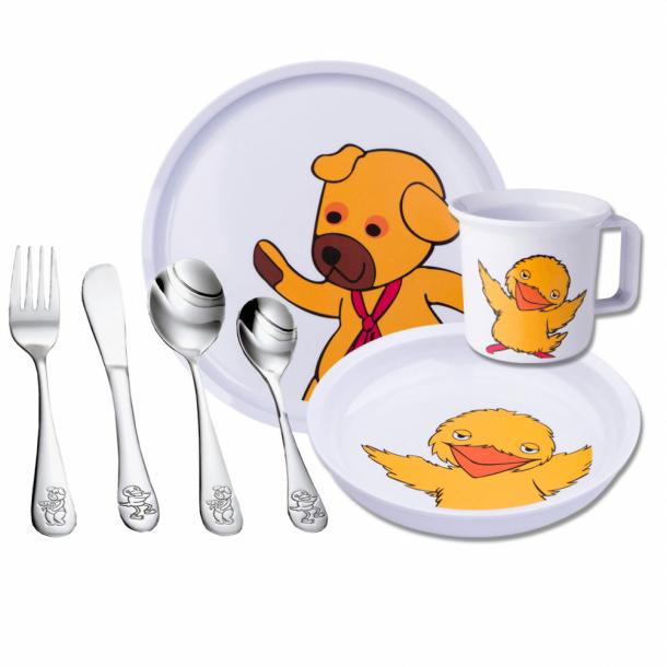 Bamse og Kylling spisesæt i melamin og bestik i stål