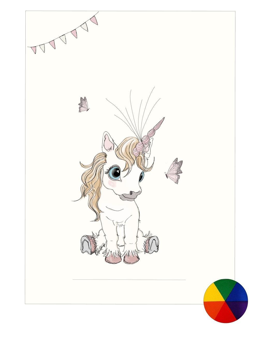 Plakat A3 - Baby unicorn Fluffy multifarvet - Fingerprint