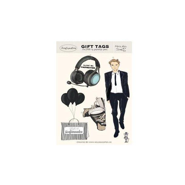 Gavemærker - Gift tags - Konfirmation Dreng