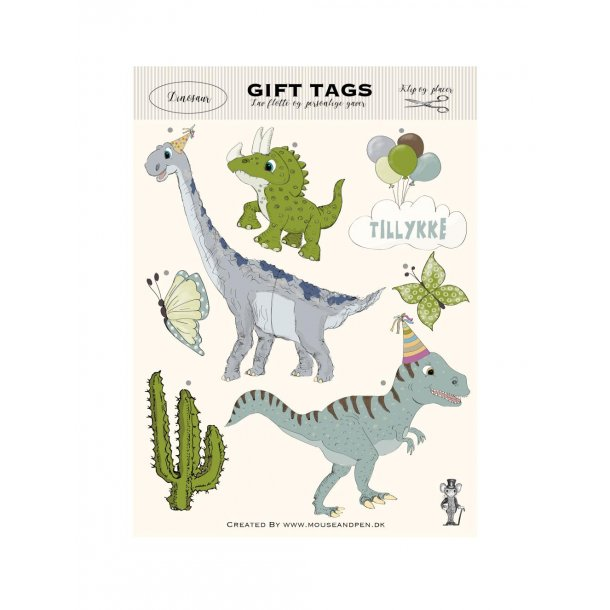 Gavemærker - Gift tags - Dinosaur