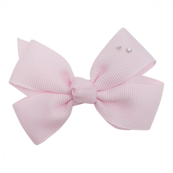 Leonora sløjfe med swarowski rhine sten  - Pudder pink