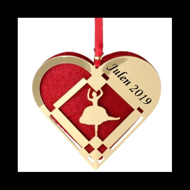 H. C. Andersen Julepynt - Lille Julehjerte Forgyldt - Ballerina - Med navn