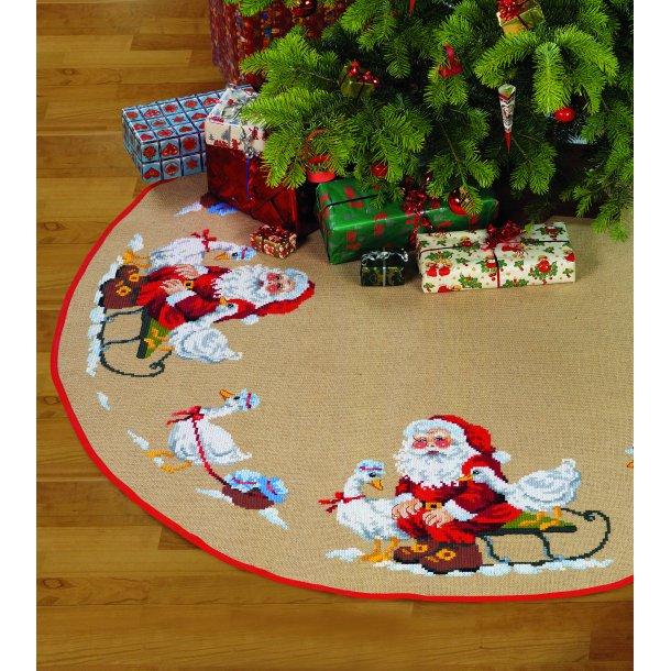 Broderikit - Juletræstæppe - Nisse med gæs