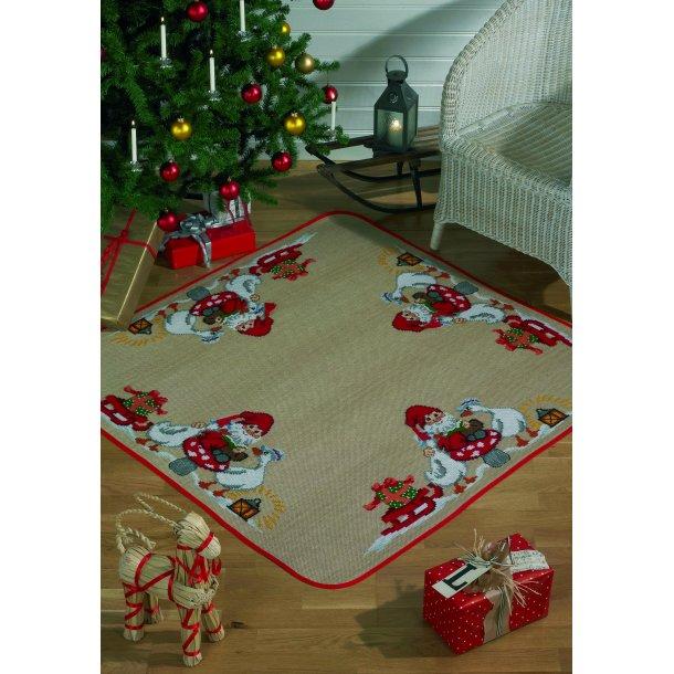 Broderikit - Juletræstæppe - Julemand med gæs