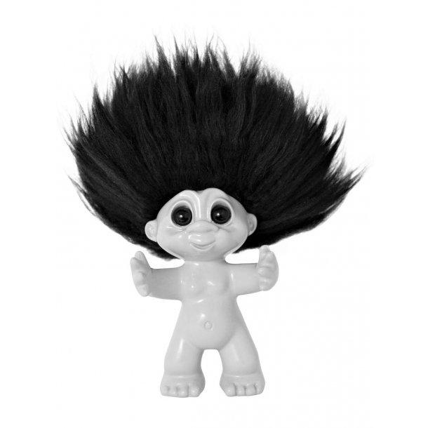 Lykketrolden Hvid/sort hår 9 cm