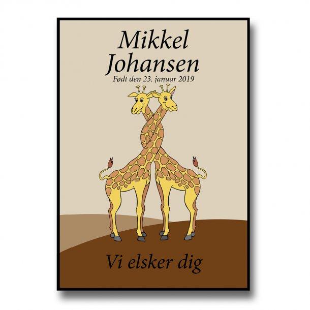 Personlig navneplakat - Familie - Giraffer