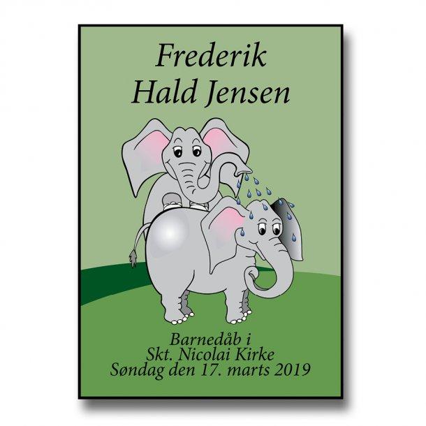 Personlig navneplakat - Dåbsplakat/Navngivningsplakat - Elefanter