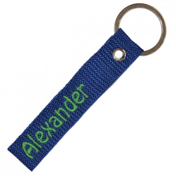 Nøglering med navn - Kongeblå