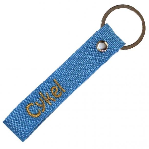 Nøglering med navn - Himmelblå