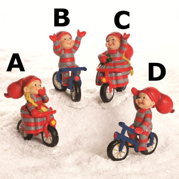 Pobra babynisser på cykel