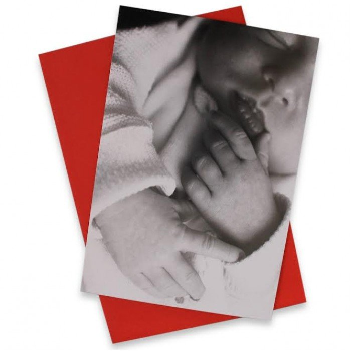 Tillykkekort med sovende baby