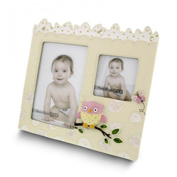 Fotoramme til 2 billeder - Rosa ugler