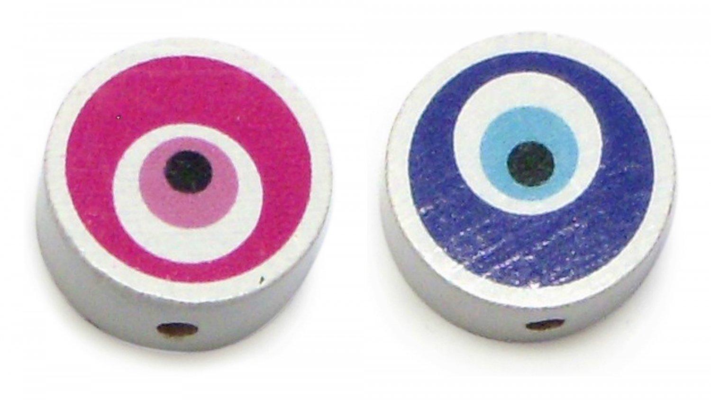 Træperler - Blå øje/rød øje