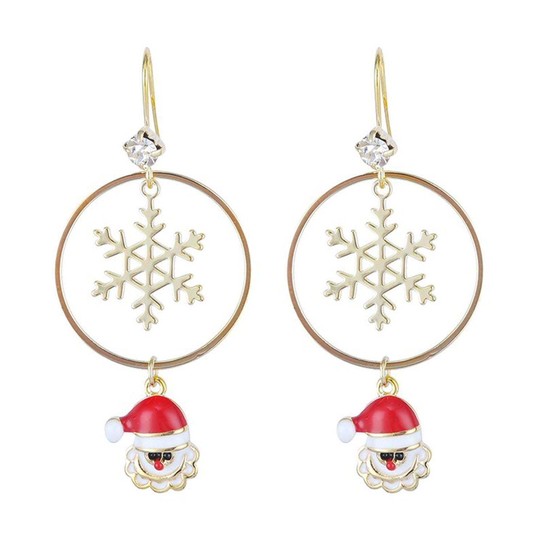 Øreringe med snefnug og julemand