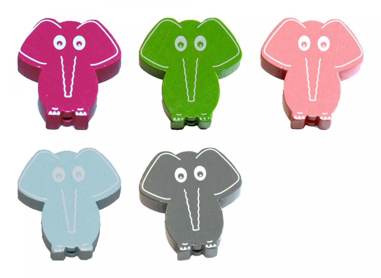 Træperler - Elefanter - Lodret