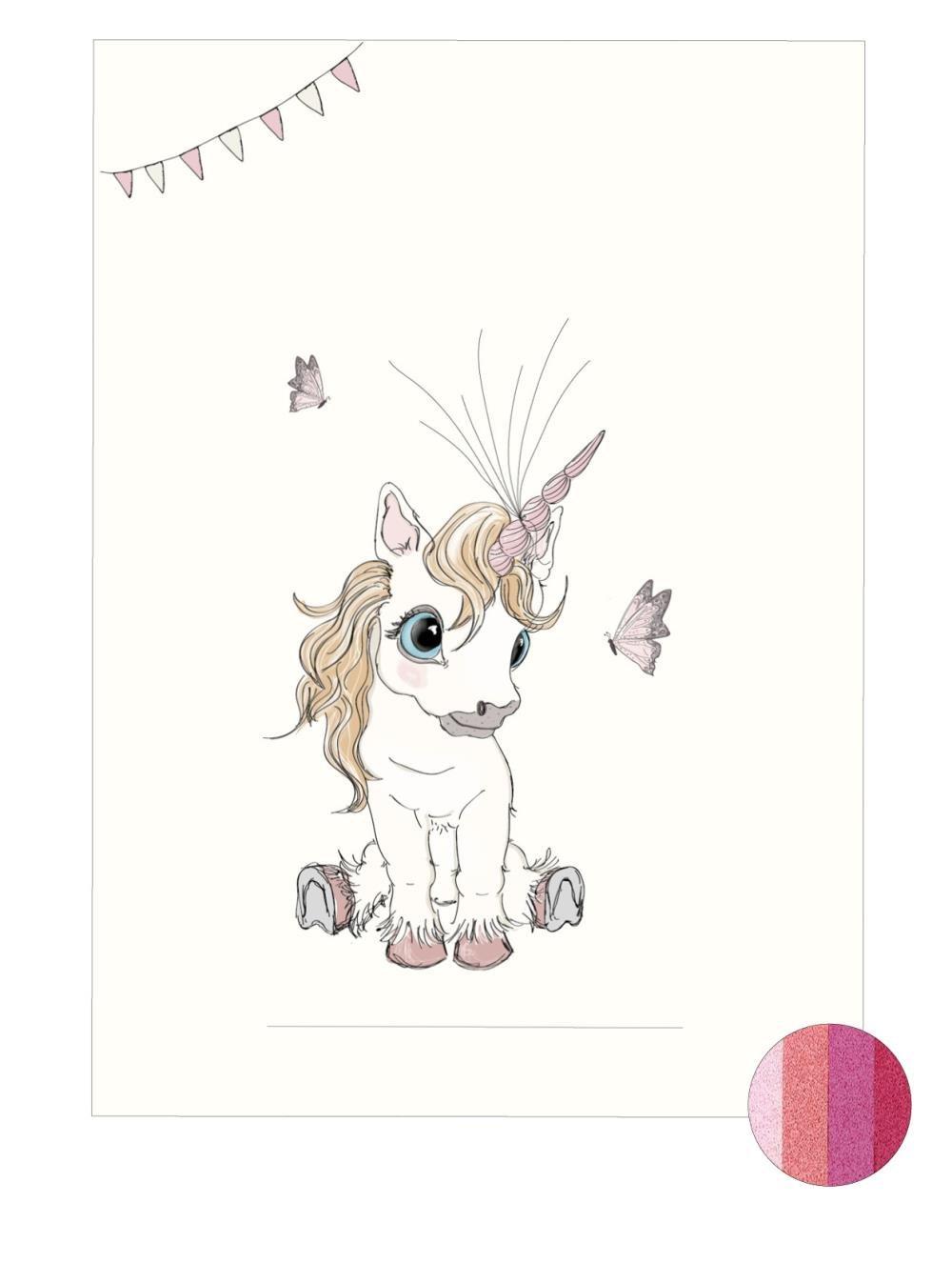 Plakat A3 - Baby unicorn Fluffy pink - Fingerprint