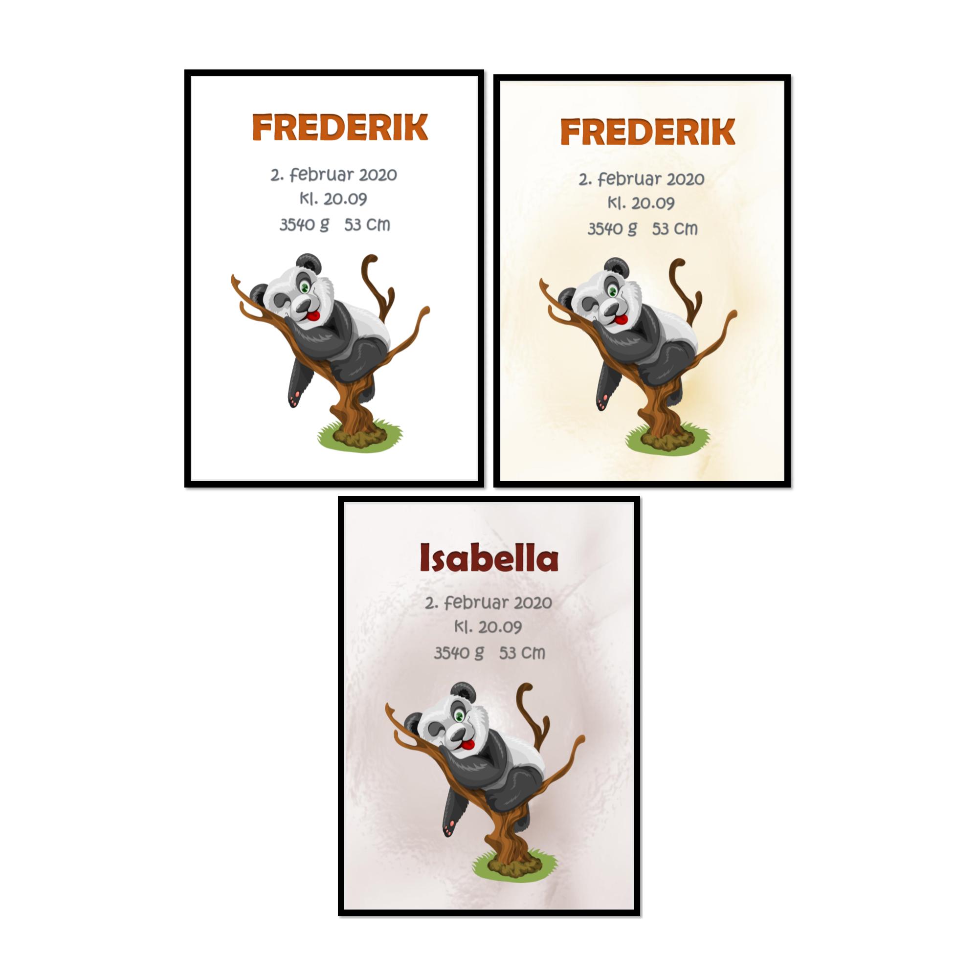 Dåbstavle/navnetavle- Panda