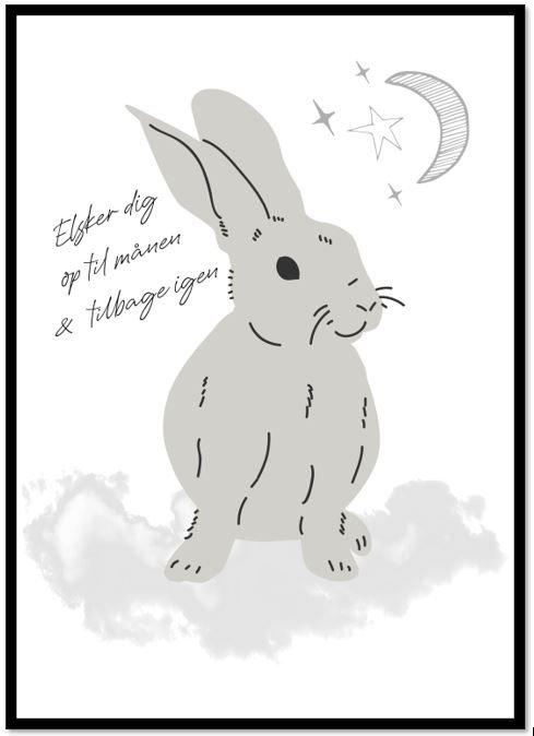 Plakat med tekst og kanin - Grå