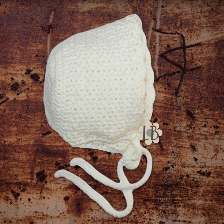 Hæklet babyhue - Lise, Hvid