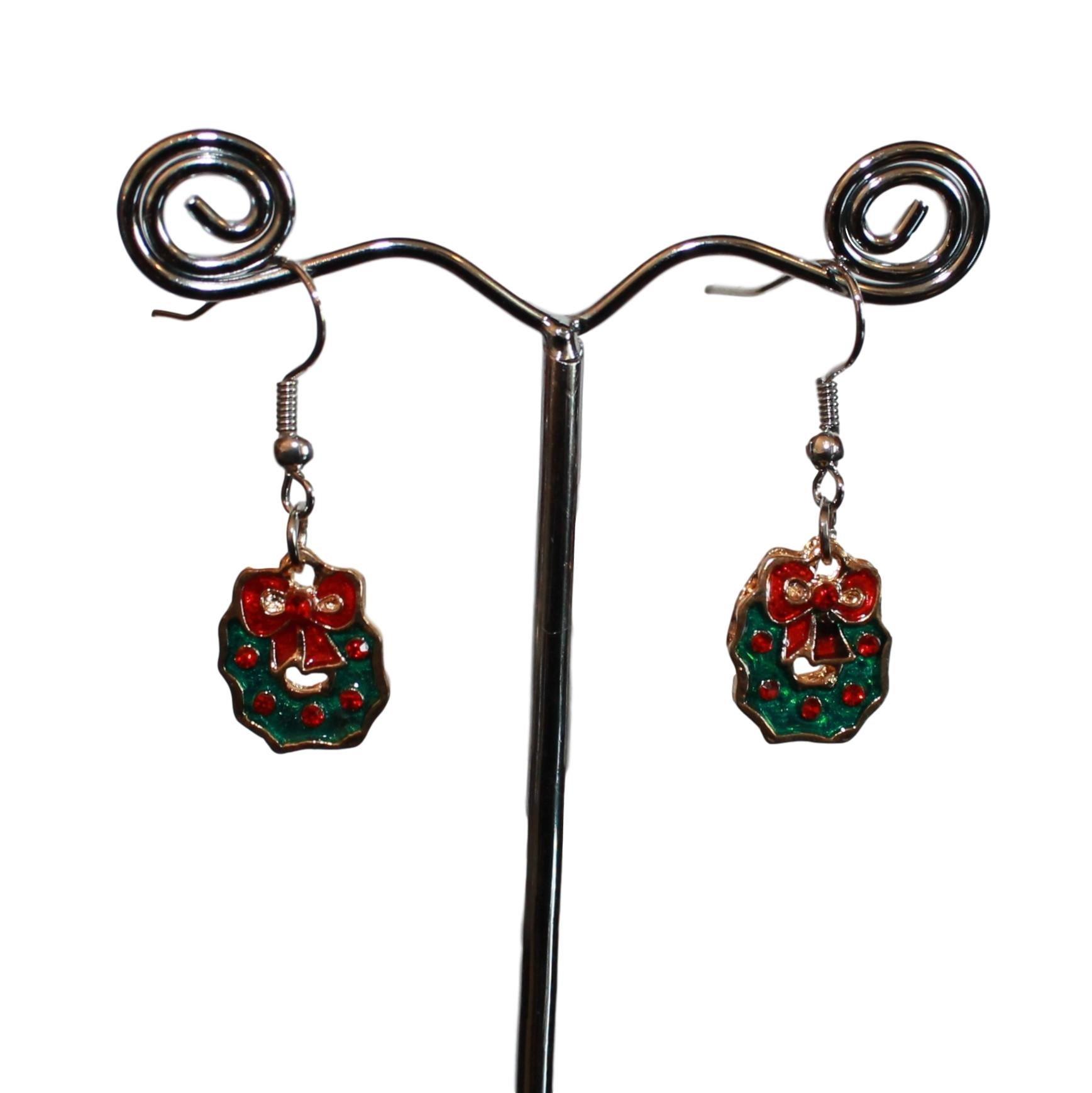 Øreringe med julekranse