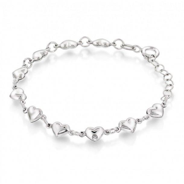 Armbånd i sølv - Hjerter