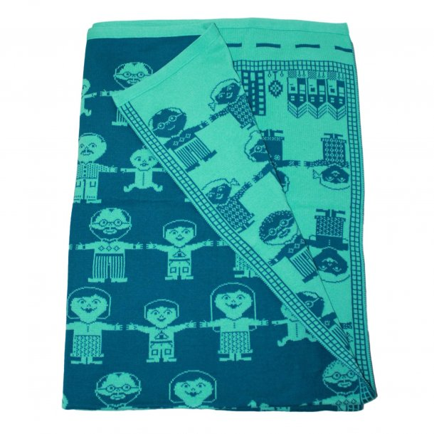 Babytæppe strikket fra Linedyr - Petroleum