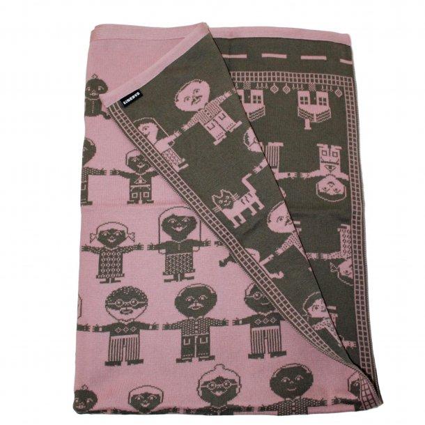 Babytæppe strikket fra Linedyr - Rosa