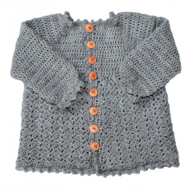 Hækleopskrift Hæklet babytrøje med knapper (PDF)