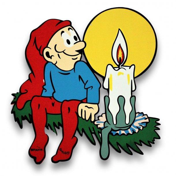 Bramming kravlenisse i træ 40 cm - Nisse med julelys