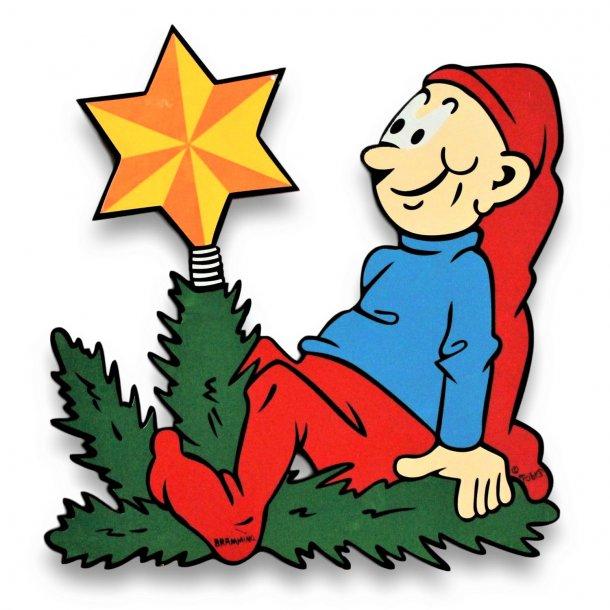 Bramming kravlenisse i træ 40 cm - Nisse med julestjerne