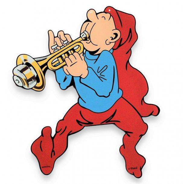 Bramming kravlenisse i træ 40 cm - Nisse med trompet