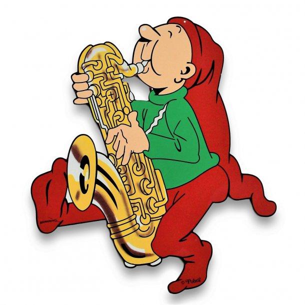 Bramming kravlenisse i træ 40 cm - Nisse med tuba