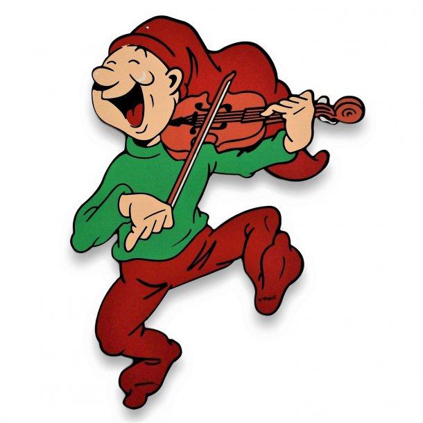 Bramming kravlenisse i træ 40 cm - Nisse med violin