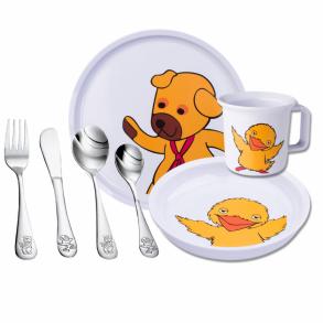 Børnespisesæt - bestik, krus & tallerken