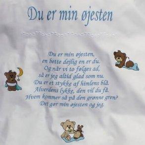 Sengetøj til børn med navn og vers