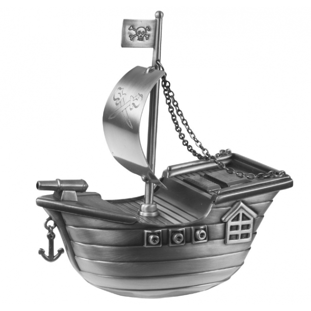Sparebøsse Sørøverskib fortinnet - Med navn