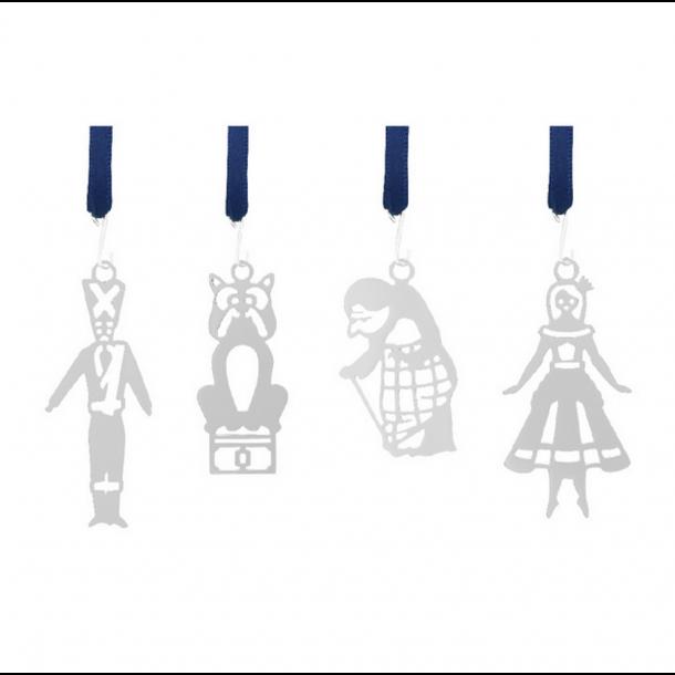 4 stk. julepynt - påskepynt i gaveæske - forsølvet - H.C. Andersen Fyrtøjet