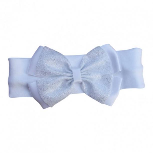 Hårbånd med hvid sløjfe med glimmer